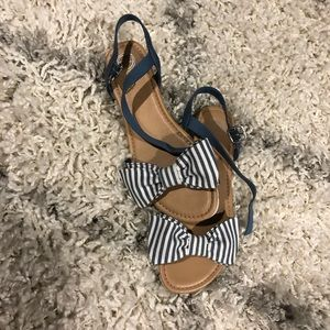 NWOT Sandals with Striped Bow